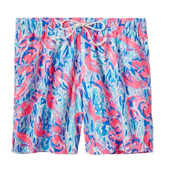 NWT Lilly Pulitzer Mens Capri Cosmic Coral Cracked Up Swim Trunks Pick Size
